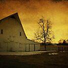 Sunrise on a White Barn by Christine Annas