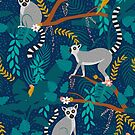 Lemurs in a Blue Jungle by latheandquill