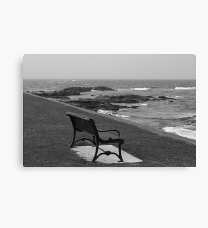 Romantic bench near the ocean Canvas Print