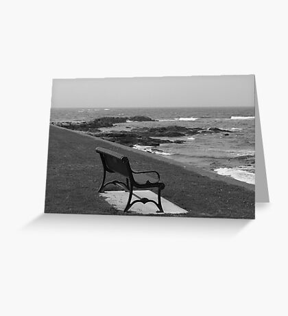 Romantic bench near the ocean Greeting Card