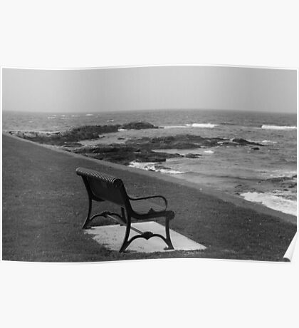 Romantic bench near the ocean Poster