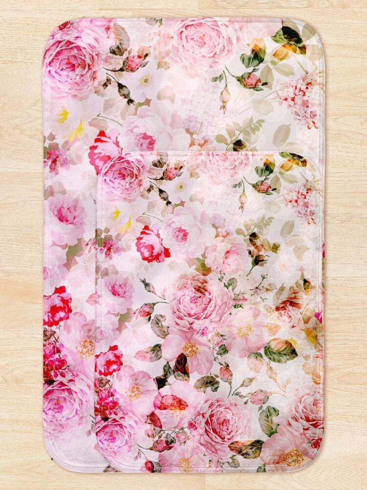 Alternate view of Vintage pink pastel watercolor floral pattern Bath Mat
