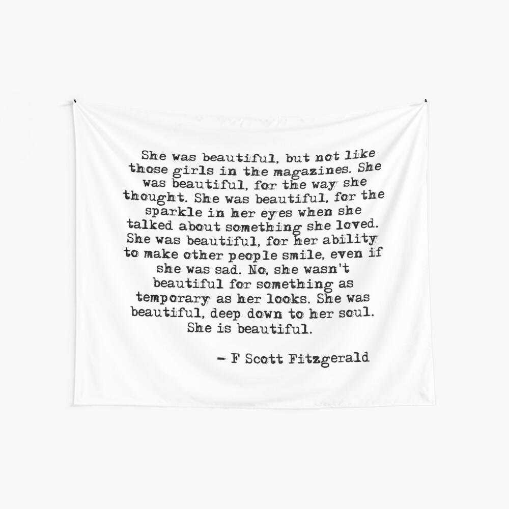 She was beautiful - F Scott Fitzgerald Wall Tapestry