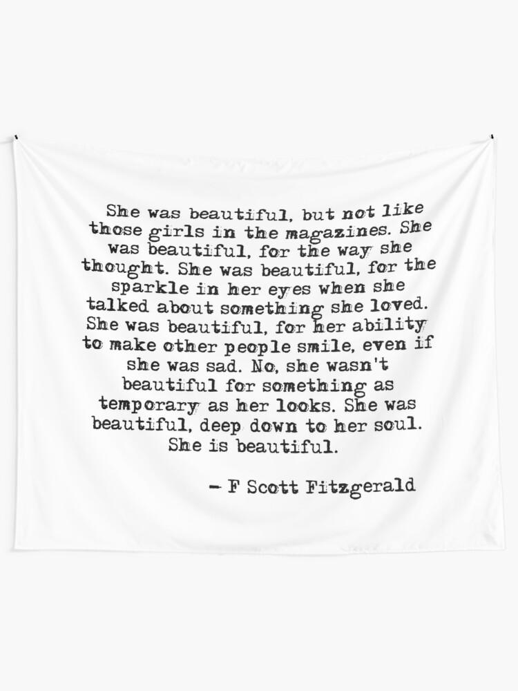 Alternate view of She was beautiful - F Scott Fitzgerald Wall Tapestry