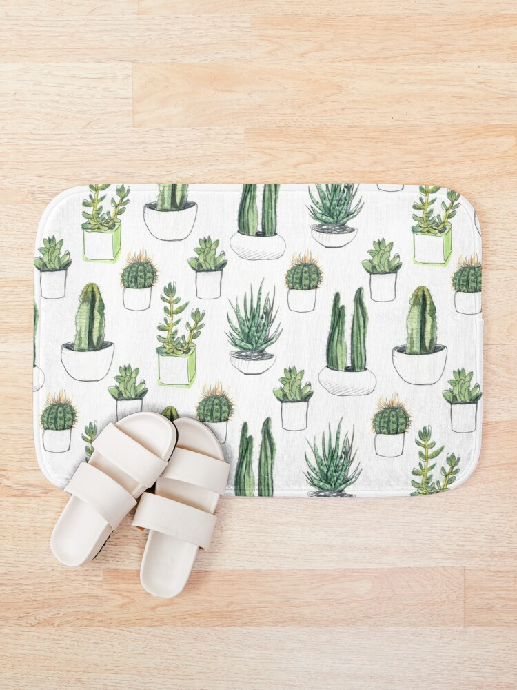 Alternate view of Watercolour cacti & succulents Bath Mat