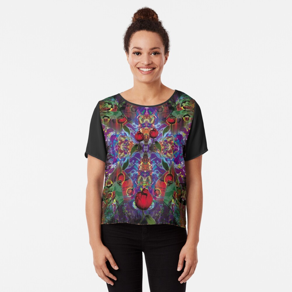 Vision with Tulips Chiffon Top