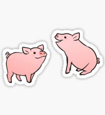 Two Pink Pig Stickers Sticker
