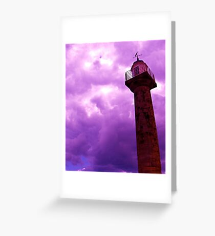 Clouds over Whitby Lighthouse Greeting Card