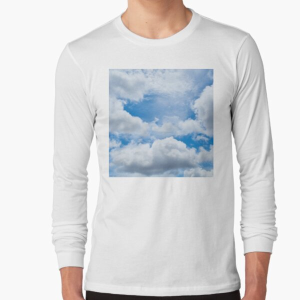 Cloudy Sky, blue sky with fluffy cumulous clouds Long Sleeve T-Shirt
