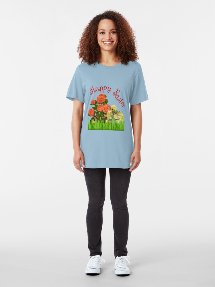 Alternate view of Happy Easter Chick and Eggs Slim Fit T-Shirt