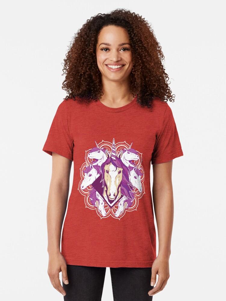 Alternate view of Unicorn Mandala Tri-blend T-Shirt