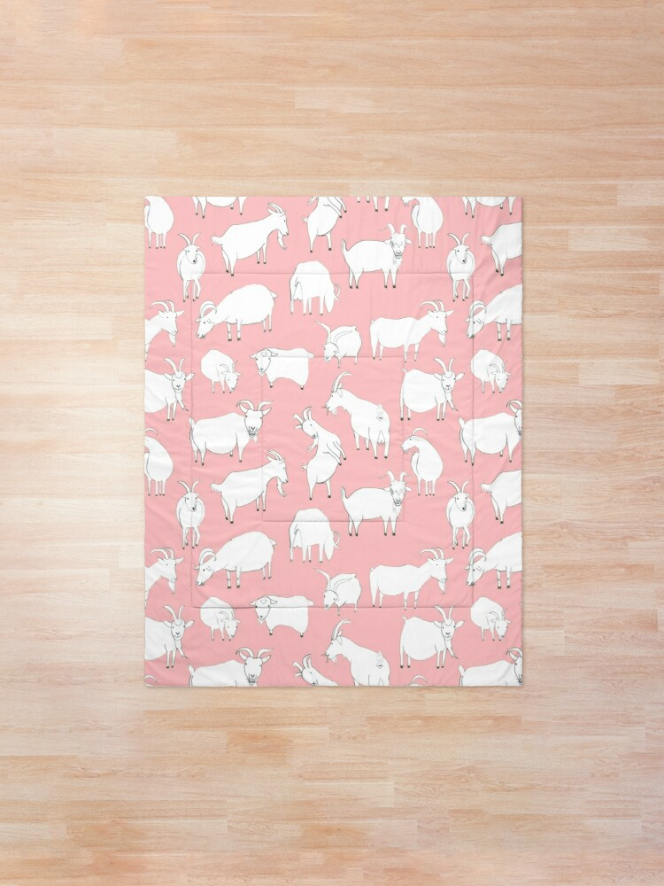 Alternate view of Goats playing - Pink Comforter