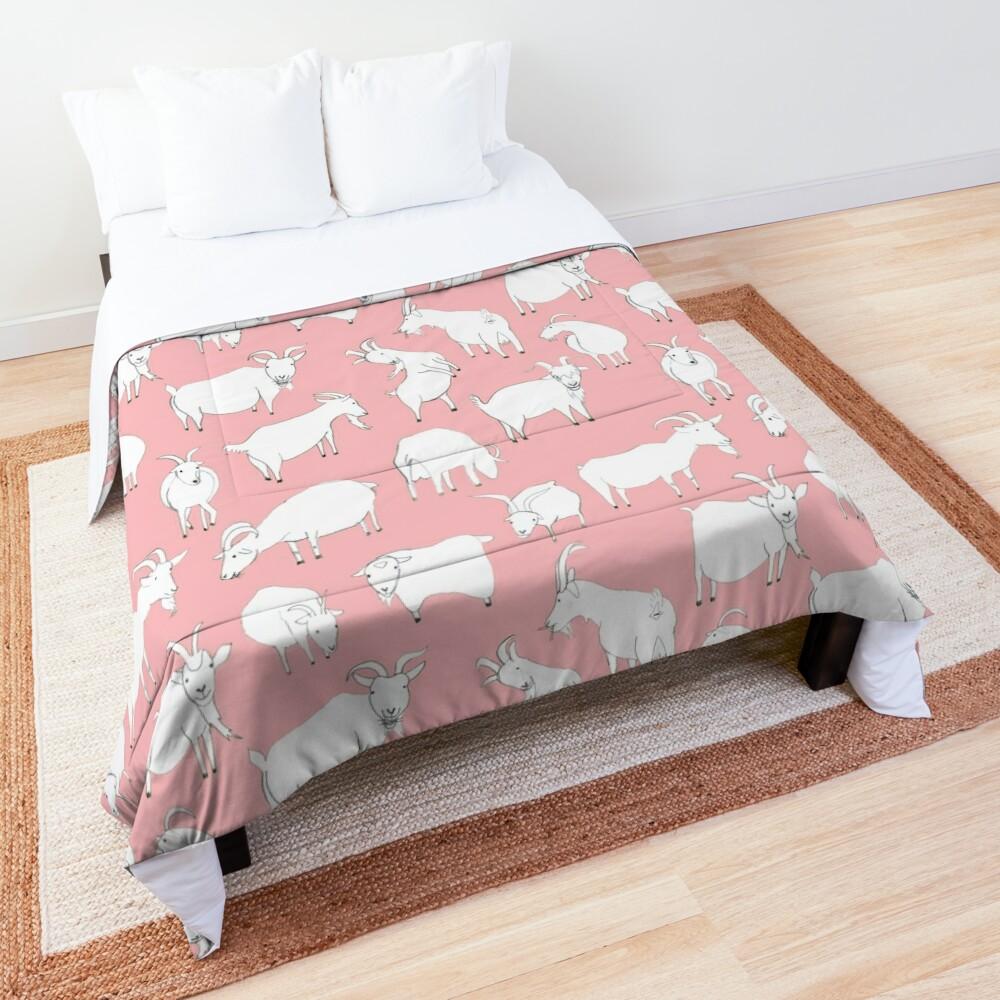 Goats playing - Pink Comforter