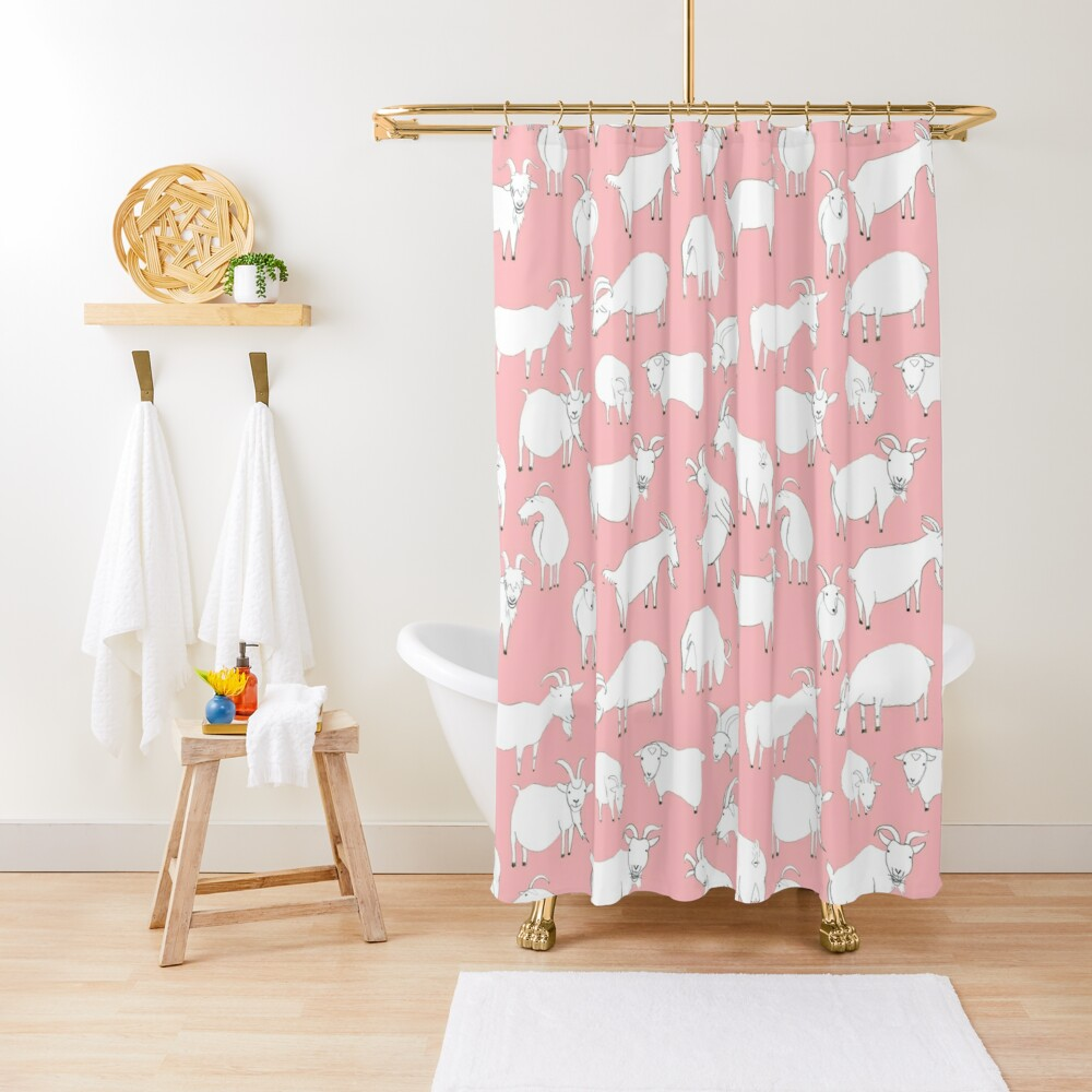Goats playing - Pink Shower Curtain