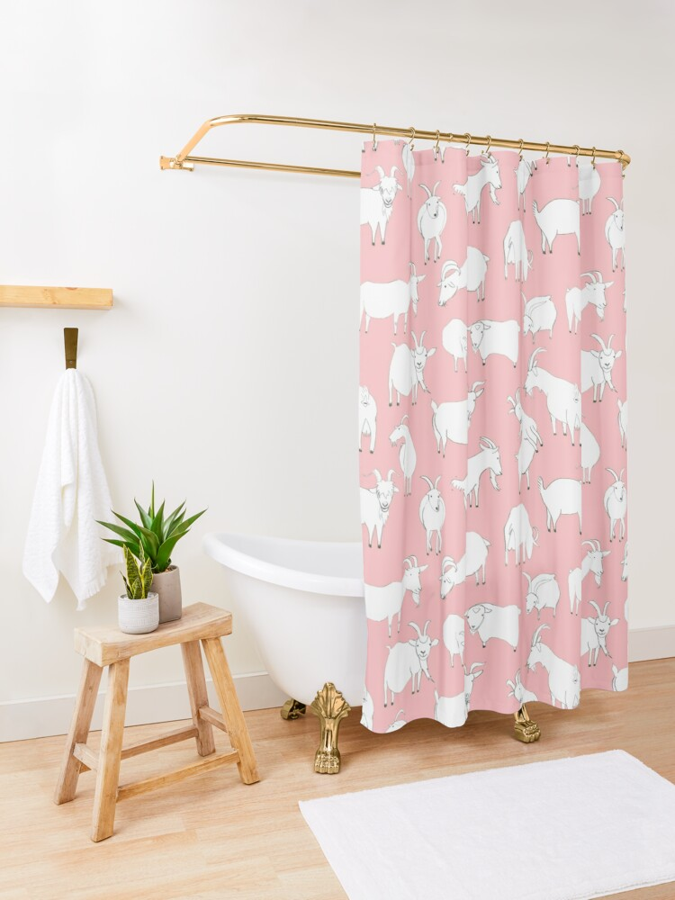 Alternate view of Goats playing - Pink Shower Curtain