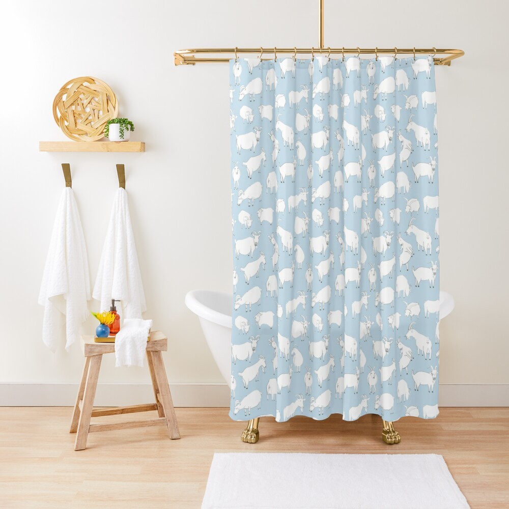Goats playing - Blue Shower Curtain