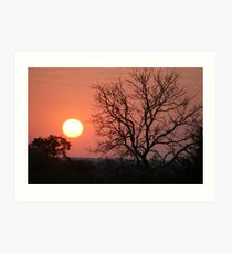 Sunset at Imbabala Camp(Botswana/Zimbabwe boder) Art Print