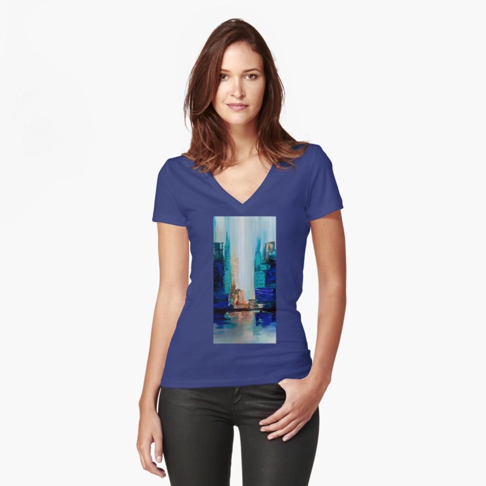 Lichter der Stadt Tailliertes T-Shirt mit V-Ausschnitt