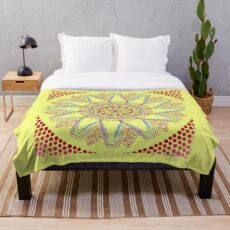 Sunflower Star  Mandala Throw Blanket