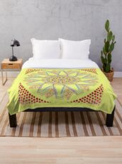 Sunflower Star  Mandala Throw Blanket