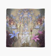 Silky Blue & Orchids with Blue Rusty Metal, native orchids of Western Australia. Scarf