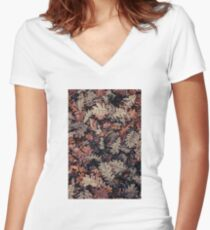 Dried Autumn Leaves - HD Nature Fitted V-Neck T-Shirt