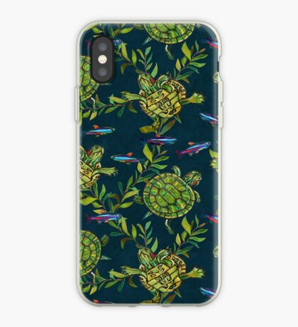 Turtles and Tetras on Teal Pattern By Robert Phelps iPhone Case