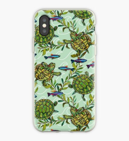 Painted Pond Pattern by Robert Phelps iPhone Case