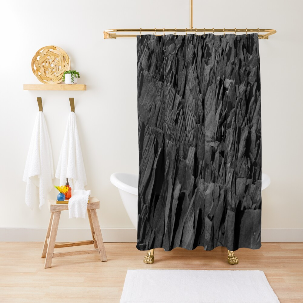Black Rocks - Nature Elements Shower Curtain