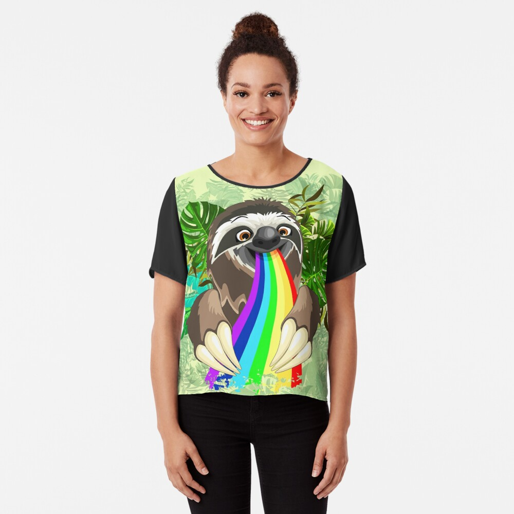 Sloth Spitting Rainbow Colors Chiffon Top
