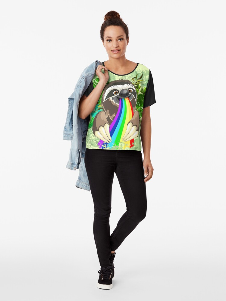 Alternate view of Sloth Spitting Rainbow Colors Chiffon Top