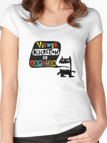 Viewer Discretion is Advised - multi colored Women's Fitted Scoop T-Shirt