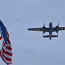 """B-25 Mitchell takes off """"next"""" to the flag by Henry Plumley"""