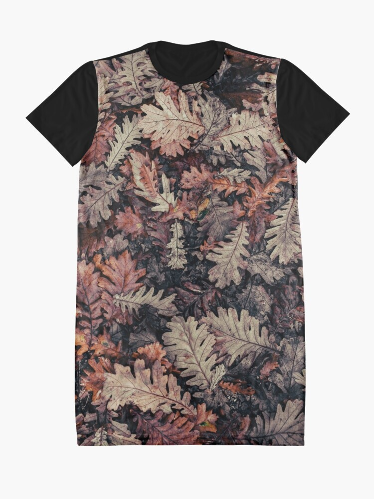 Alternate view of Dried Autumn Leaves - HD Nature Graphic T-Shirt Dress