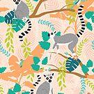 Lemurs in a Peach Jungle by latheandquill