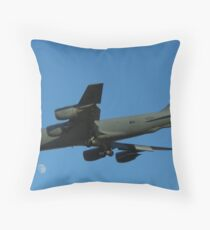 Flying over the moon Throw Pillow