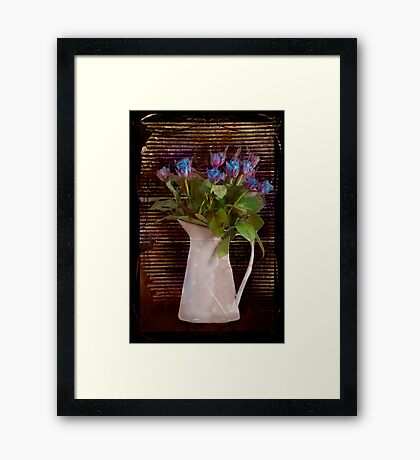 Roses Grungy Blues Framed Print