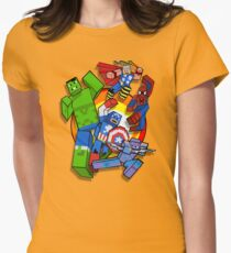 Cute Cube superheroes Group Womens Fitted T-Shirt