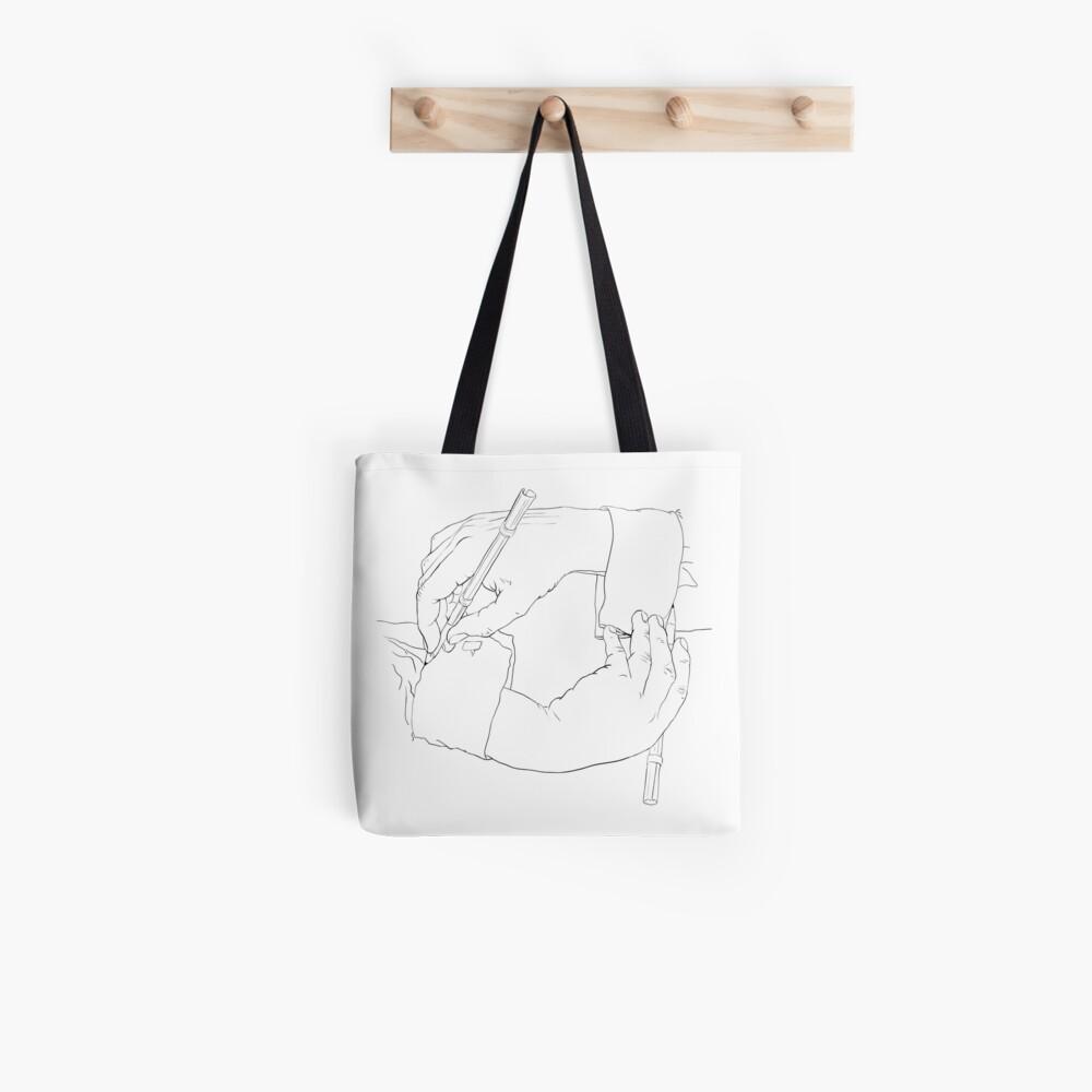Zeichnen von Händen - Strichzeichnungen von Escher Tote Bag
