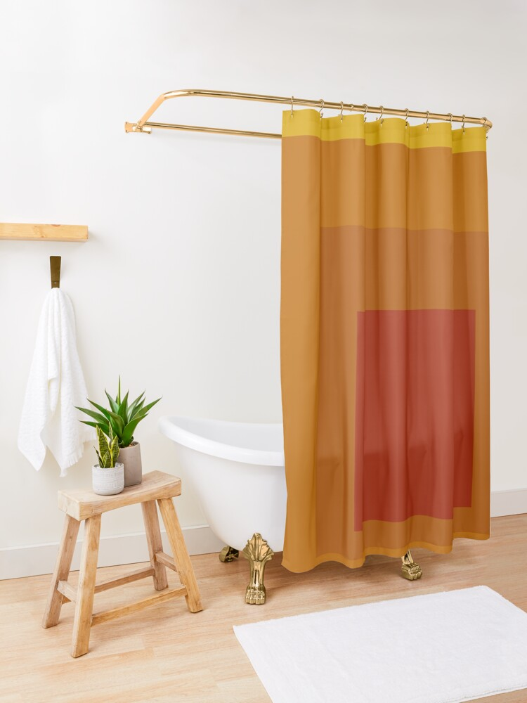 Alternate view of Block Colors - Yellow Orange Red Shower Curtain