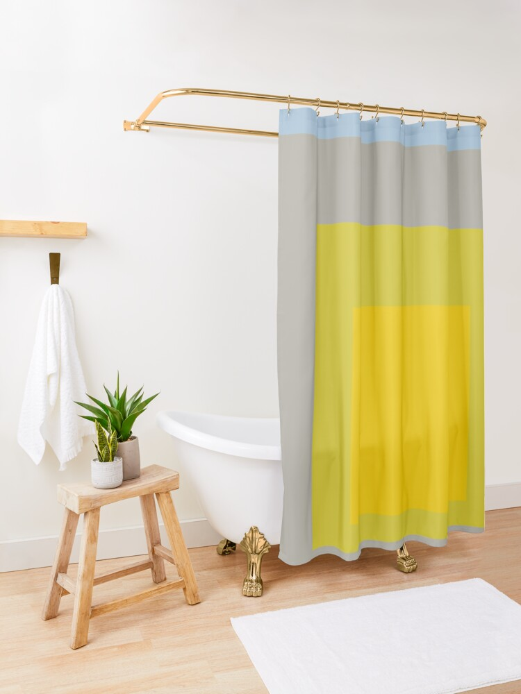 Alternate view of Block Colors - Yellow Green Grey Blue Shower Curtain