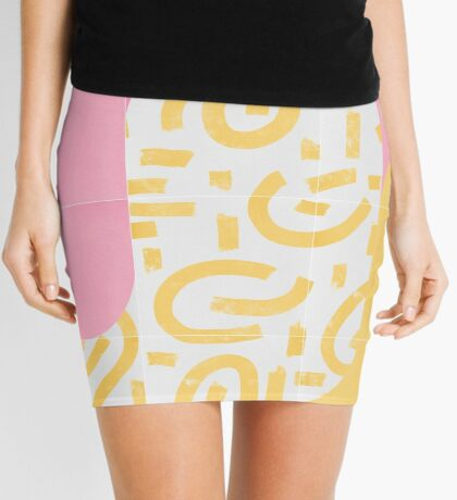 Sunny Doodle Tiles 02 #redbubble #midmod Mini Skirt