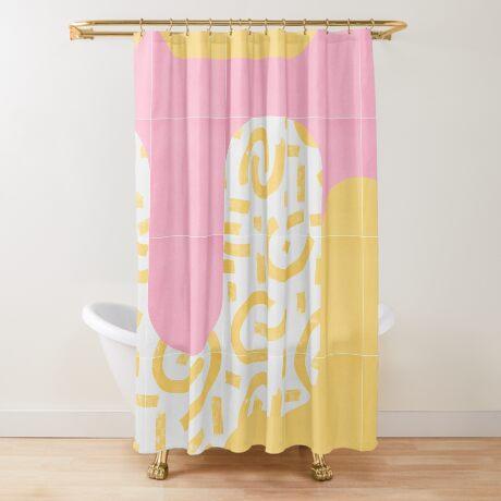 Sunny Doodle Tiles 02 #redbubble #midmod Shower Curtain