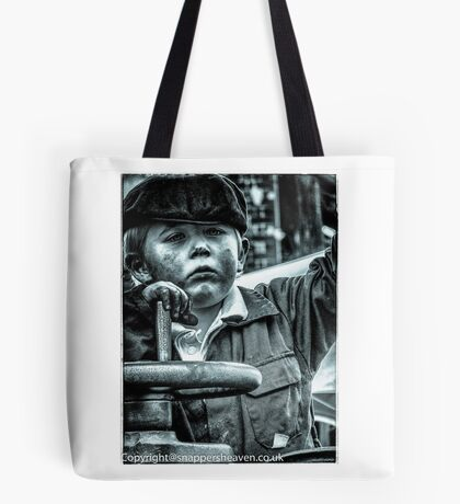 Boy on a traction engine  Tote Bag
