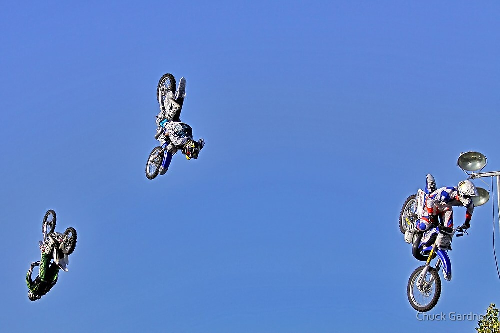 Motocross-Stunt Riders  Going Up & Over the Top by Chuck Gardner