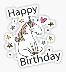 Birthday Unicorn Card Sticker