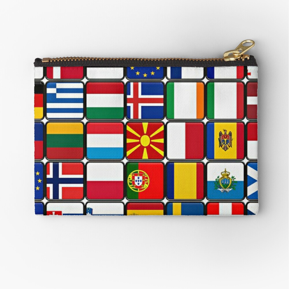 International Flag Collage Zipper Pouch