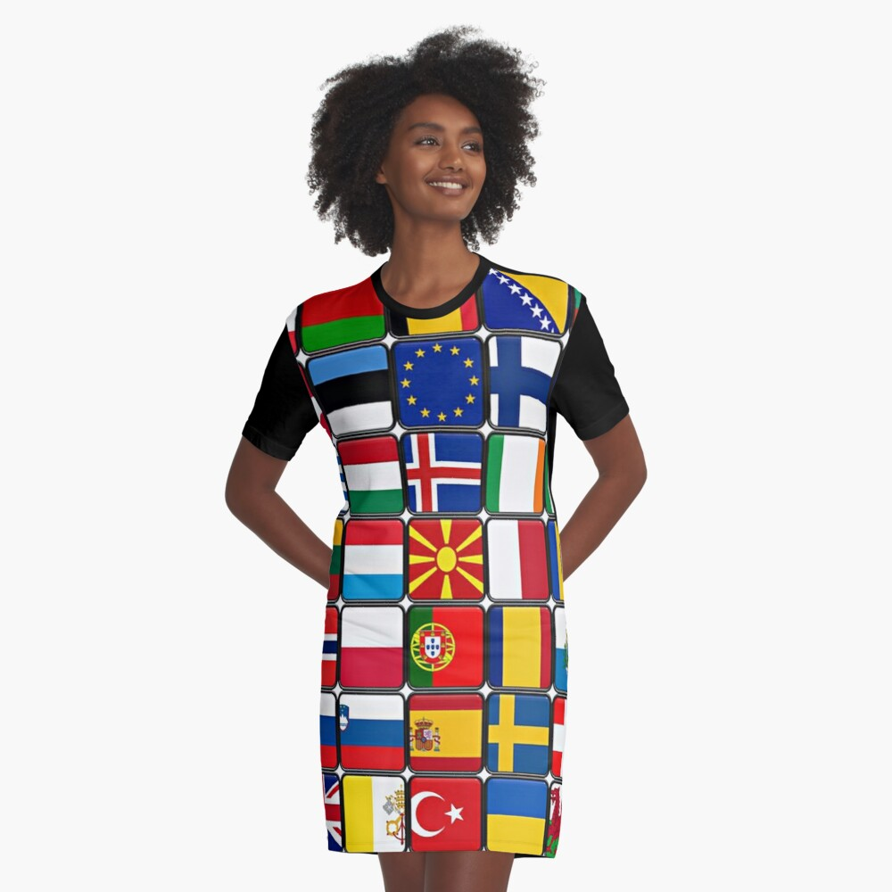 International Flag Collage Graphic T-Shirt Dress