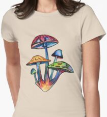 Cluster of Colored Shrooms Womens Fitted T-Shirt