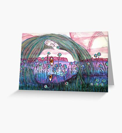 Girl in a Field of Blue Flowers- Drawing Greeting Card